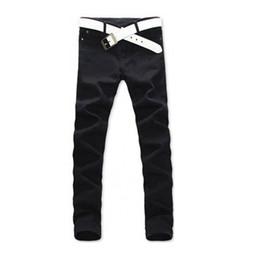 Wholesale Slim Straight Pants Men Wholesale - Wholesale- 2017 Men Casual Jeans Mid Pencil Pants Stylish Designed Straight Slim Fit Trousers