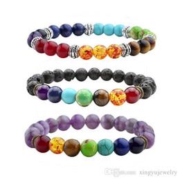Wholesale Chakra Gemstone Set - Lava Rock Beads Chakra Bracelet Black Healing Energy Stone Gemstone Bracelet Top Plaza Men,Women Charm Bracelets