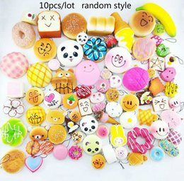 Wholesale Strap For Charm - 10pcs lot Kawaii Squishy Bun Toast Donut Bread for cell phone Bag Charm Straps mixed Rare Squishies lanyard scented with opp package