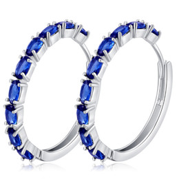 Wholesale Hoop Earrings For Girls - 8 Colors New Fashion Trendy 18K White Gold Plated AAA Sparky CZ Crystal Big Earring Hoops for Girls Women for Party Wedding