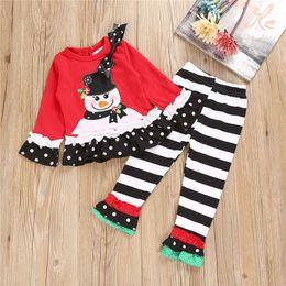 Wholesale Clothing Snowmen - European Children Girls Snowman Clothes Set Stripe Christmas Suits Kid Girls Xmas Long Sleeve Shirt Trousers 2102147