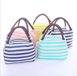 Wholesale Drink Cases - Waterproof Canvas Stripe Lunch Bag Lunch Tote For Women Kids Stripe Lunch Bag Picnic Case Carry Tote Storage Bag LJJK795