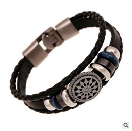 Wholesale Hand Made Bracelets For Men - Europe Punk Hand Made Braided Charm bead Bracelet Bangles Man Woman Wristband Cuff Leather Bracelet For Men
