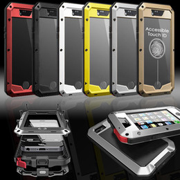 Wholesale iphone 4s silver - Waterproof Dropproof Dirtproof Shockproof Phone Case for IPhone 4 4s 5 5s 5c 6 6s 4.7 Plus Back Metal Cover