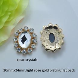 Wholesale Gold Rhinestone Embellishment - (J0548) 20mmx24mm metal rhinestone embellishment,4 style for choose ,light rose gold plating,flat back,100pcs lot