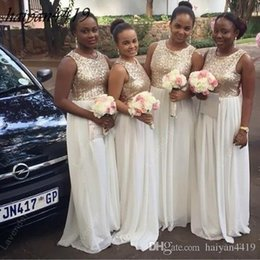 Wholesale Sparkly White Chiffon Wedding Dresses - 2017 Cheap New Sparkly Bridesmaids dresses Jewel Neck Lace Sequined For Wedding Silver Gold Long Chiffon Sequins Bridesmaid Dress Under 100