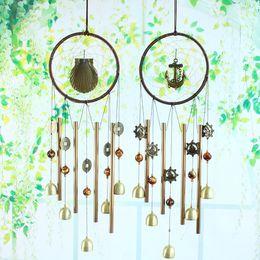 Wholesale Cooper Antique - 4 Styles Antique Cooper Metal Bells Handmade Dream Catcher Net Door Chimes Home Hanging Decoration Ornaments