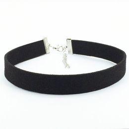 Wholesale Black Ribbon Choker - Hot new torques Bijoux Plain Black Velvet Ribbon Collares Anime Maxi Necklace Chokers Necklace jewelry accessories women 2016