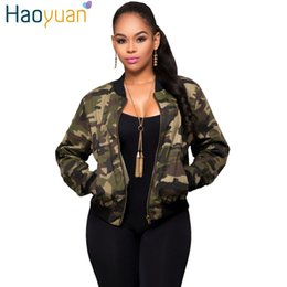 Wholesale Women Quilted Coat Winter - Wholesale- HAOYUAN Autumn Winter Women Basic Coats Bomber Jackets Quilted Long Sleeve Slim Camouflage Casual Short Outwear Camo Jacket