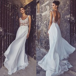 Wholesale Cheap White Gold Engagement - White Cheap Price Engagement Bridal Gown Chiffon Ruffles Beach Wedding Dresses Backless Top Sheer With Flowers Custom Made Net Strap U Neck