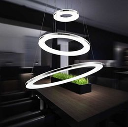 Wholesale Rc Lamp - Modern 3 rings LED pendant lights for living room chrome Stainless steel white acrylic lampshade dimming with 2.4G RC lamp LLFA