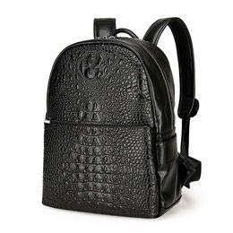 Wholesale Vintage Crocodile Men - Fashion PU Crocodile Men's Backpack Male Leather Backpacks High Quality Student Bag Men Rucksack Bagpack mochila