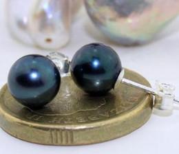 Wholesale Tahitian Pearls 8mm - AAA a pair of 7-8mm natural tahitian black pearl earrings 925 silver