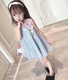 Vestito dalla corea che spedice liberamente online-Il disegno senza bretelle del fiore del merletto della ragazza del vestito dalla principessa di estate di trasporto di 2017 di nuovo modo libero della Corea decora il vestito