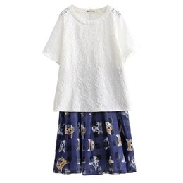 Wholesale Skirt Shirt Sets Women - Plus Size Summer Women's Sets 2017 New Hollow Out Top Solid White T-Shirt Cat Printing Fashion Skirts Two Piece Sets for Women