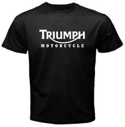 Wholesale Wholesale Race Shirts - Wholesale- New Men's T Shirt TRIUMPH MOTORCYCLE Classic Logo Race Black Basic Tee Fashion Printed 100% Cotton Short Sleeve Shirts