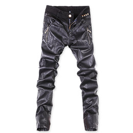 Wholesale Italian Style Lighting - Wholesale-2016 new arrival jeans men's PU denim jeans for men black italian Straight jeans men's PU casual pants size 27-36