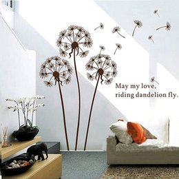 Wholesale Wallpaper Flowers Room - Flying Dandelion Butterfly Wall Decals Room DIY Flower Decorative Wall Stickers Home Decal Wallpapers