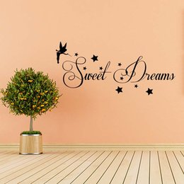 Wholesale Tinkerbell Stickers Bedroom - For Sweet Dreams Wall Art Quote Vinyl Transfer Stars Sticker Bedroom Sitting Room Mural Decor Tinkerbell Graphics