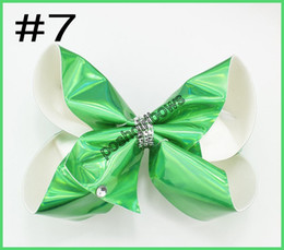Wholesale Large Hair Combs Wholesale - free shipping 2017 30pcs 8'' Large shiney metallic Holographic Signature hair bows Boutique big hair bows Girl ABC hair clips