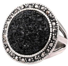 Wholesale Black Onyx Jewelry For Women - Luxury Black Broken Stone Accessories Rings For Women Bohemia Antique Silver Plated Jewelry Live To Ride