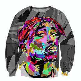 Wholesale Rap Hoodies - Wholesale-Raisevern 2016 new mens hoodie harajuku 3D sweatshirts 2Pac Tupac American gangster rap star print sweats pullovers tops shirts