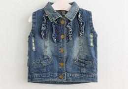 Wholesale Wholesale Waistcoats - 20Pc lot 2017 New Summer Sleeveless Girls Denim Vest Kids Blue Denim Waistcoat Child Lace Cardigan 2-8T Years UPS Fedex Free Ship