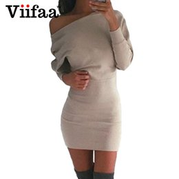 Wholesale One Shoulder Batwing Sleeve Dress - Wholesale- Viifaa 2017 Sexy One Shoulder Dress Women Casual Batwing Sleeve Dress Autumn Winter Long Sleeve Bodycon Sexy Dresses