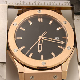 Wholesale Highest Quality Rubber Bands - High Quality Top Swiss Brand 42MM Classic Mens Watches Automatic Mechanical Watches Transparent Back Rose Gold Case With Black Rubber Band