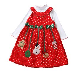 Wholesale Girls Lace Dresses Rompers - Baby Girls Christmas Rompers lace dress children Long sleeve romper +Bows headbands baby Xmas pattern Santa Claus dress