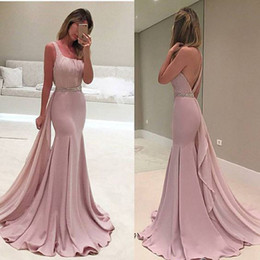 Wholesale Fashion Cocktail Party - Gorgeous Pink Square Neckline Prom Dresses 2017 Sexy Backless Mermaid Evening Gowns Sweep Train Cocktail Formal Party Dress