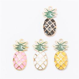Wholesale Enamel Pendant Jewelry - Wholesale 40pcs lot pineapple Enamel Alloy Gold jewelry pendants charms for bracelet necklace DIY jewelry making js010