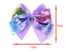 Wholesale Sequin Butterflies - Children Ribbon Sequin Butterfly Hairpin 5 inch children hair ornaments Swallowtail bow baby birthday headdress hair clips L97
