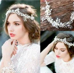 Wholesale Cheap Wedding Hair Bands - cheap Free Shipping Cheap 2016 New Vintage Wedding Bridal Hair Band Pearls Crystals Beaded Bridal Hair Decoration