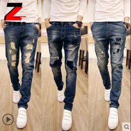 Wholesale Wholesale Men Short Jeans - Wholesale- High Quality 2017 Fashion Ripped Patch Jeans Men Vintage Designer Pencil Pants Moustache Effect Hip Hop Casual troursers