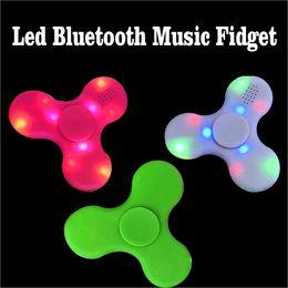 Wholesale Bike Cube - 2017 fidget Spinner Led Bluetooth Music Fidget Cube Hand Spinner EDC Hand Tri Spinner HandSpinner EDC Plastic Toy For Decompression