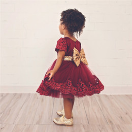 Wholesale Girls Handmade Crochet Dress - 1-6 years old baby girl dress handmade baby lace crocheted dress children frocks designs lace sequin big bowknot tutu dress