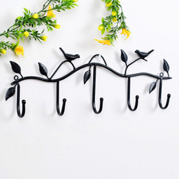 Wholesale Iron Ties - Bird Tree Branch Clothes Hanger Hook Wrought Iron Ornaments The Bathroom Accessories 5 Hooks For Gloves Metal Ties Coat Hooks