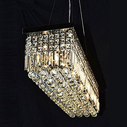 "Wholesale Chandelier Raindrop Lighting - L40"" x W10"" Rectangle Modern Crystal Chandelier Lighting Raindrop Pendant Light Dining Room Kitchen Island Hanging Lamp"