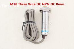 Wholesale Proximity Sensor Npn - Wholesale- 5Pcs M18 Three Wire DC NPN NC 8mm distance measuring Inductive proximity switch sensor -LJ18A3-8-Z AX