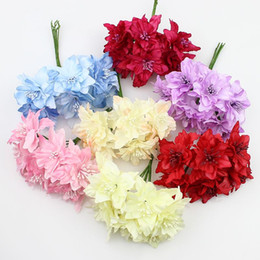 Wholesale Scrapbooking Fabric Flowers - 5cm Silk Lily Flowers Bouquet Artificial Fabric Butterfly flower For Wedding Wreath Scrapbooking Decoration ,72pcs lot