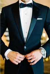 Wholesale Hankerchief Cotton - 2017 Custom Made Groomsmen Notch Satin Lapel Groom Tuxedos Black Men Suits Wedding Best Man (Jacket+Pants+Tie+Hankerchief)