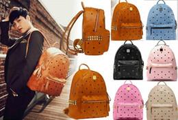 Wholesale Diamante Canvas Backpack - Top Selling Men Women Handbags bag Shoulder Bags Purse Wallet Famous Messenger Bags Totes Bag PU Leather Fashion Designer Rivet Backpack