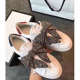 Wholesale Diamond Casual Shoes - Hot sale new fashionable men and women cocoa remove diamond bow discounted casual shoes