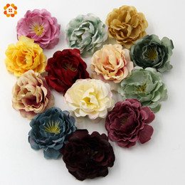 Wholesale Wholesale Decorations For Wreaths - Wholesale- 10PCS High Quality DIY Artificial Silk Flower Head For Home Wedding Party Decoration Wreath Gift Box Scrapbooking Fake Flowers