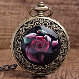 Wholesale Pocket Watch Fob Chain - Wholesale-New Arrival Cool Bronze Red Beautiful flowers Quartz Pocket Watch Pendant FOB Chain Women Men's Boy Best Gifts P340