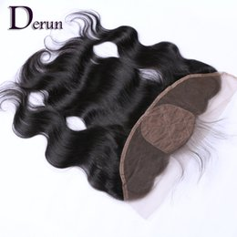Wholesale Bleached Knots Silk Base - Body Wave Brazilian Silk Base Frontal Closure 13x4 With Baby Hair Bleached Knots Virgin Body Wave Silk Base Frontal Closure