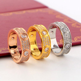 Wholesale Titanium Wedding Rings For Couple - Titanium steel Love rings lovers screw diamonds couple Band Rings for Women and Men with three lines diamond fashion Jewelry