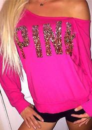 Wholesale Hot Pink Shirts Wholesale - Wholesale- autumn fall Fashion Brand T Shirt Women letter pink Printed T-shirt Women Tops Tee Shirt Femme New Arrivals Hot Sale Casual