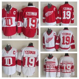 Wholesale Detroit Patch - Detroit Red Wings Steve Yzerman CCM Vintage 75th Throwback Hockey Jerseys Winter Classic Alumni Red 19 Steve Yzerman Jersey Stitched C Patch